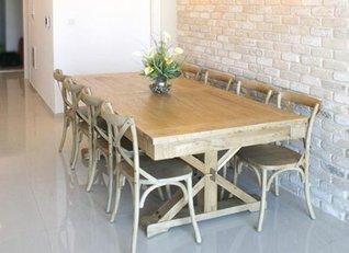 ניס פינת אוכל מעוצבת מעץ מלא עם 6 כיסאות - באליגם CE-49