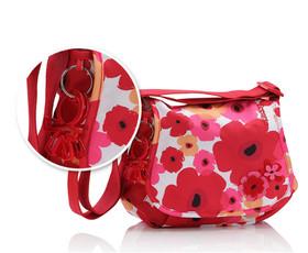 תיק עגלה ג'ני - פרחים אדום