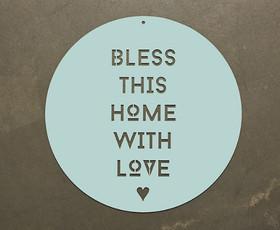 שלט מתכת - Bless this home - צהוב / טורקיז