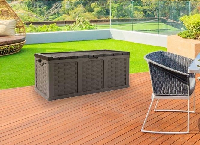 מעולה ארגז אחסון לגינה עם ספסל בדוגמת ראטן 634 ליטר - באליגם MC-93